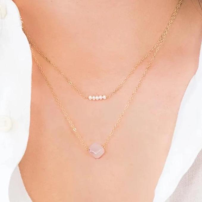 bridesmaid jewelry, bridal party jewelry, wedding necklace, rose quartz necklace, pearl necklace, layered necklace, layering necklace, christmas gift for mom, mothersday gift, birthday present