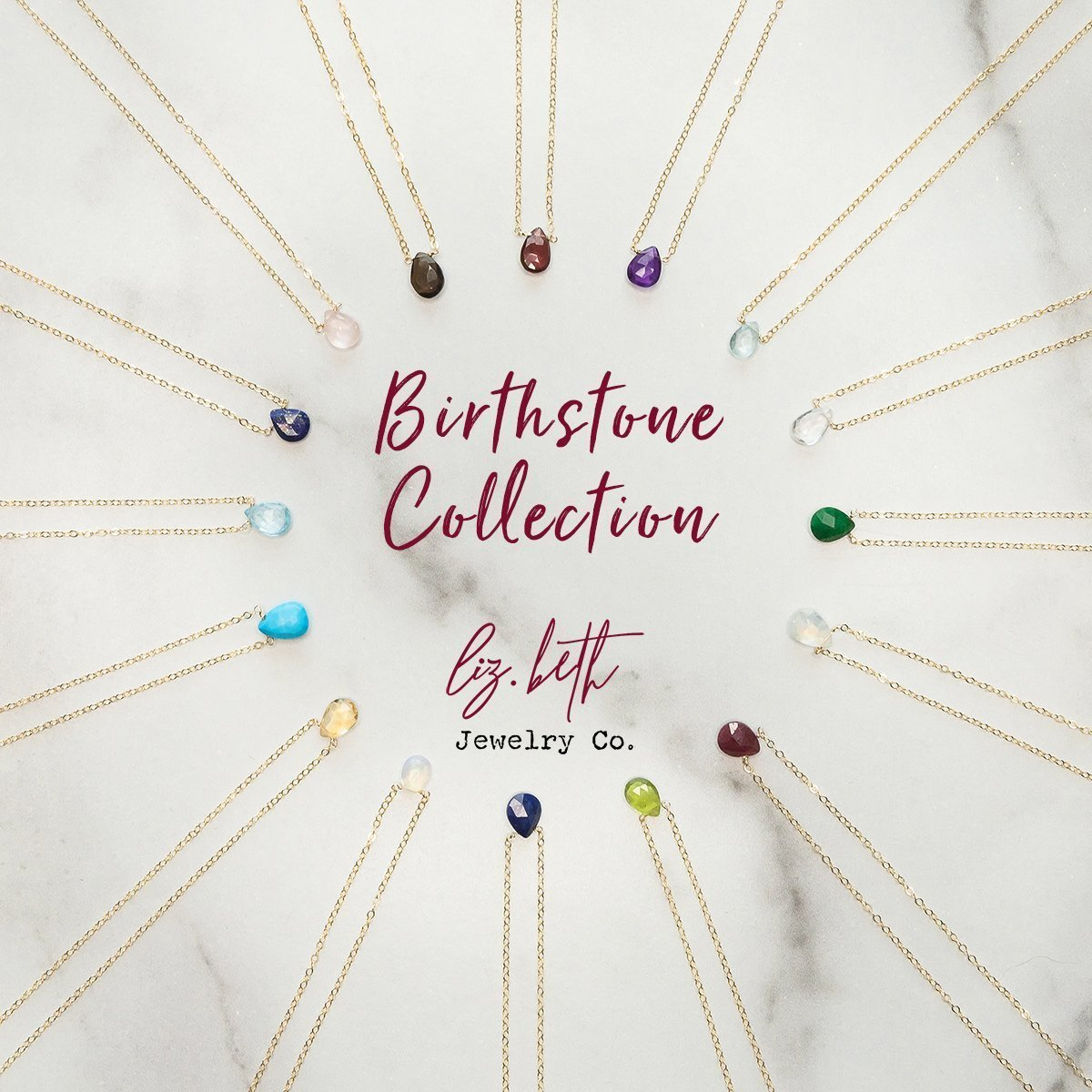 July Ruby Birthstone Necklace Liz.Beth Jewelry Co.