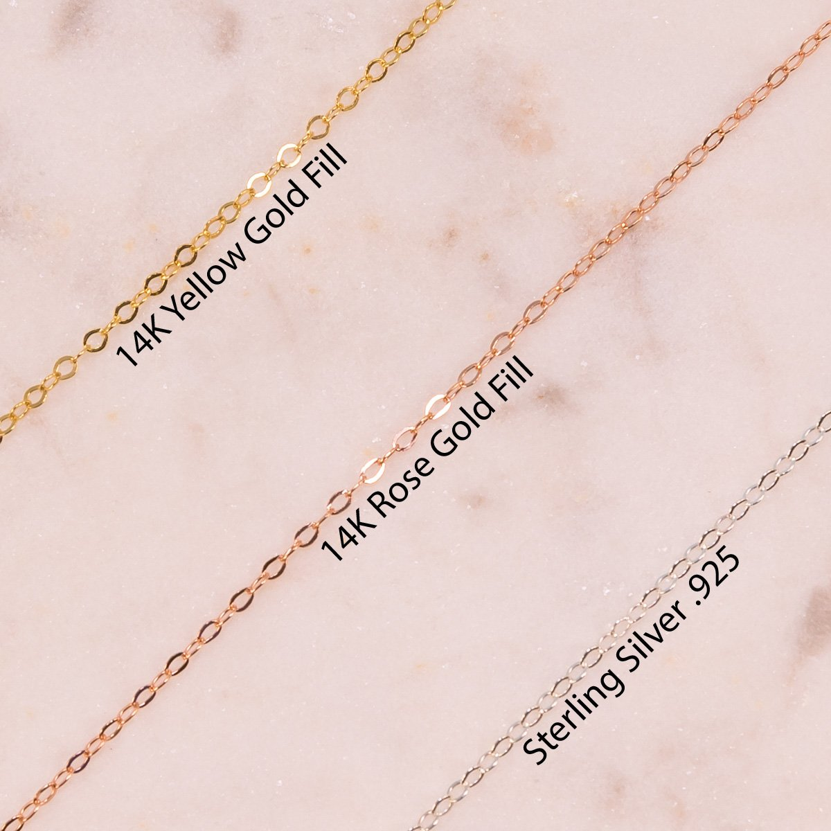 Yellow Gold Chain, Rose Gold Chain, Sterling Silver Chain, Chain Metals Compariston Liz.Beth Jewelry Co.