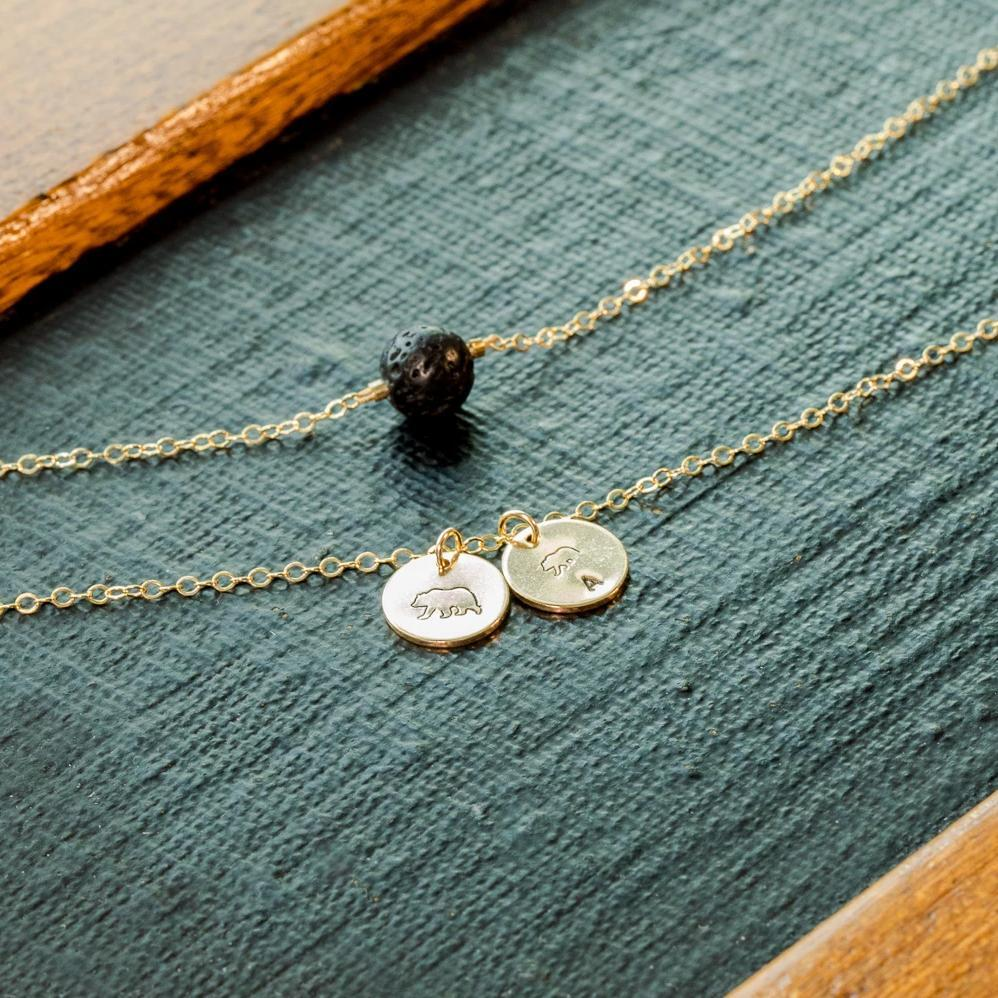 Personalized Initial Mama Bear and Baby Bear Essential Oil Diffuser Layered Necklace Liz.Beth Jewelry Co.