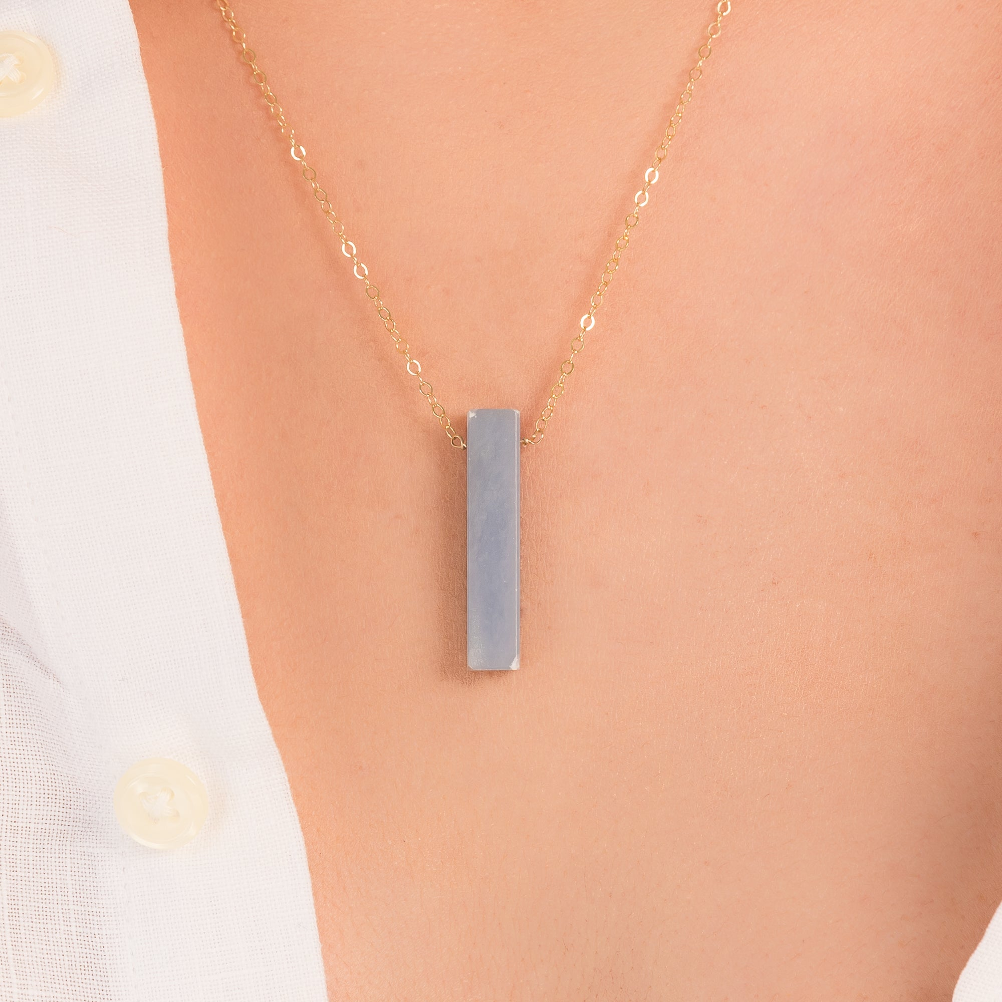 Angelite Vertical Bar Necklace | Liz.Beth Jewelry Co.