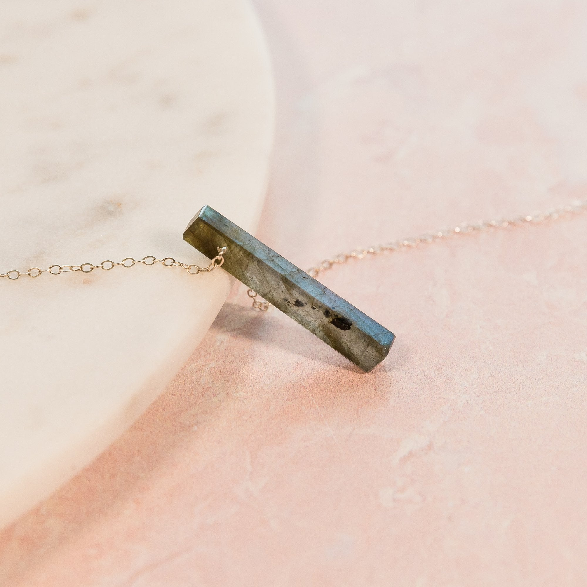 Labradorite Vertical Bar Necklace | Liz.Beth Jewelry Co.