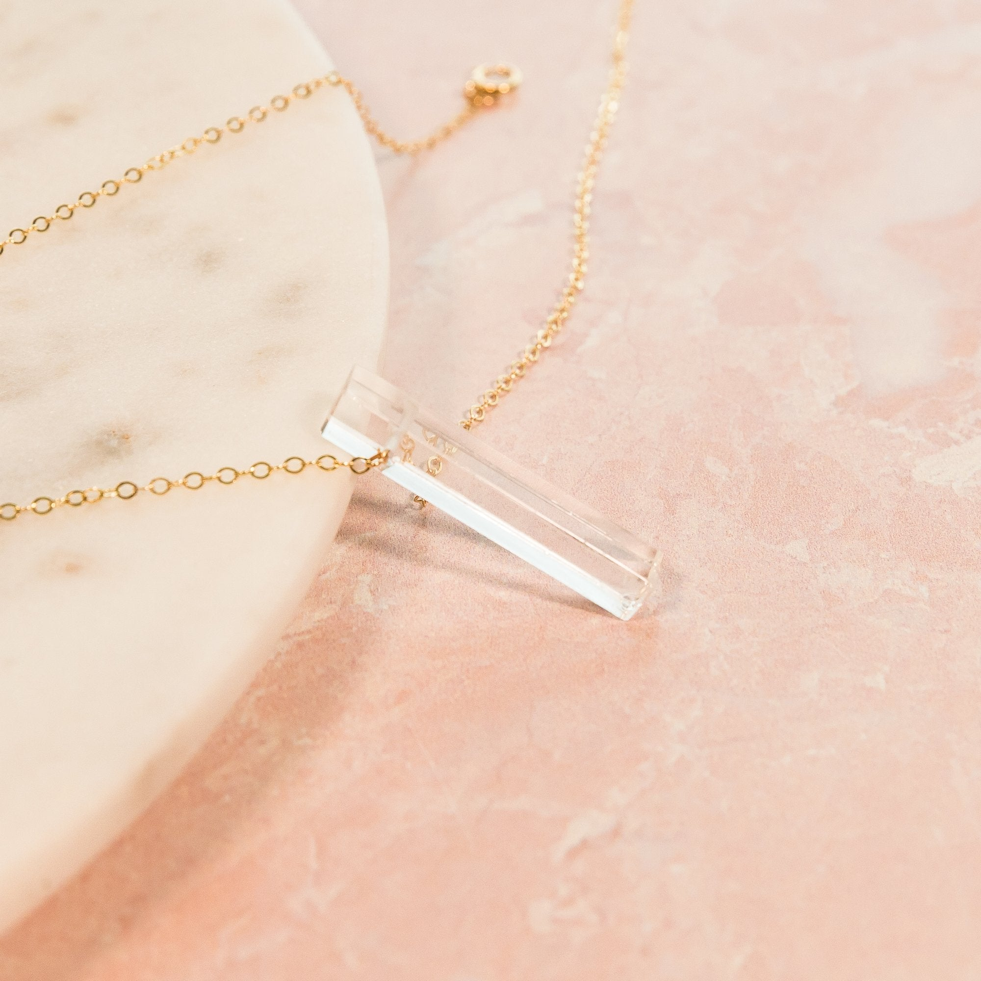 Clear Quartz Vertical Bar Necklace | Liz.Beth Jewelry Co.
