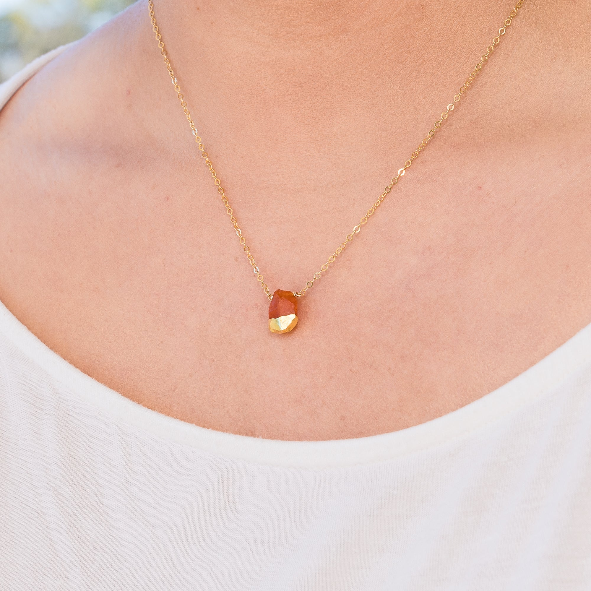 24 K Gold Dipped Raw Carnelian Gemstone Necklace