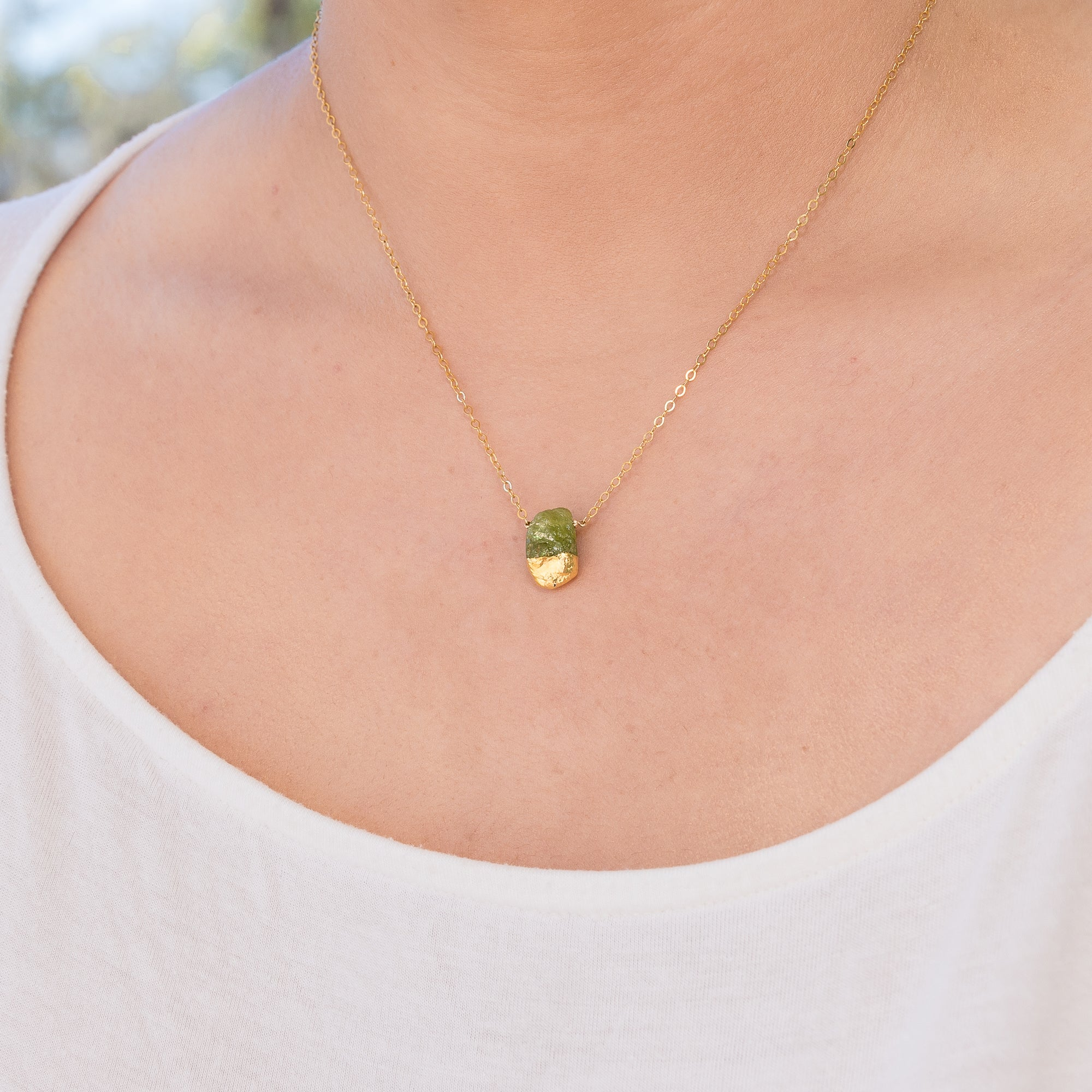 Gold dipped raw Green Peridot necklace