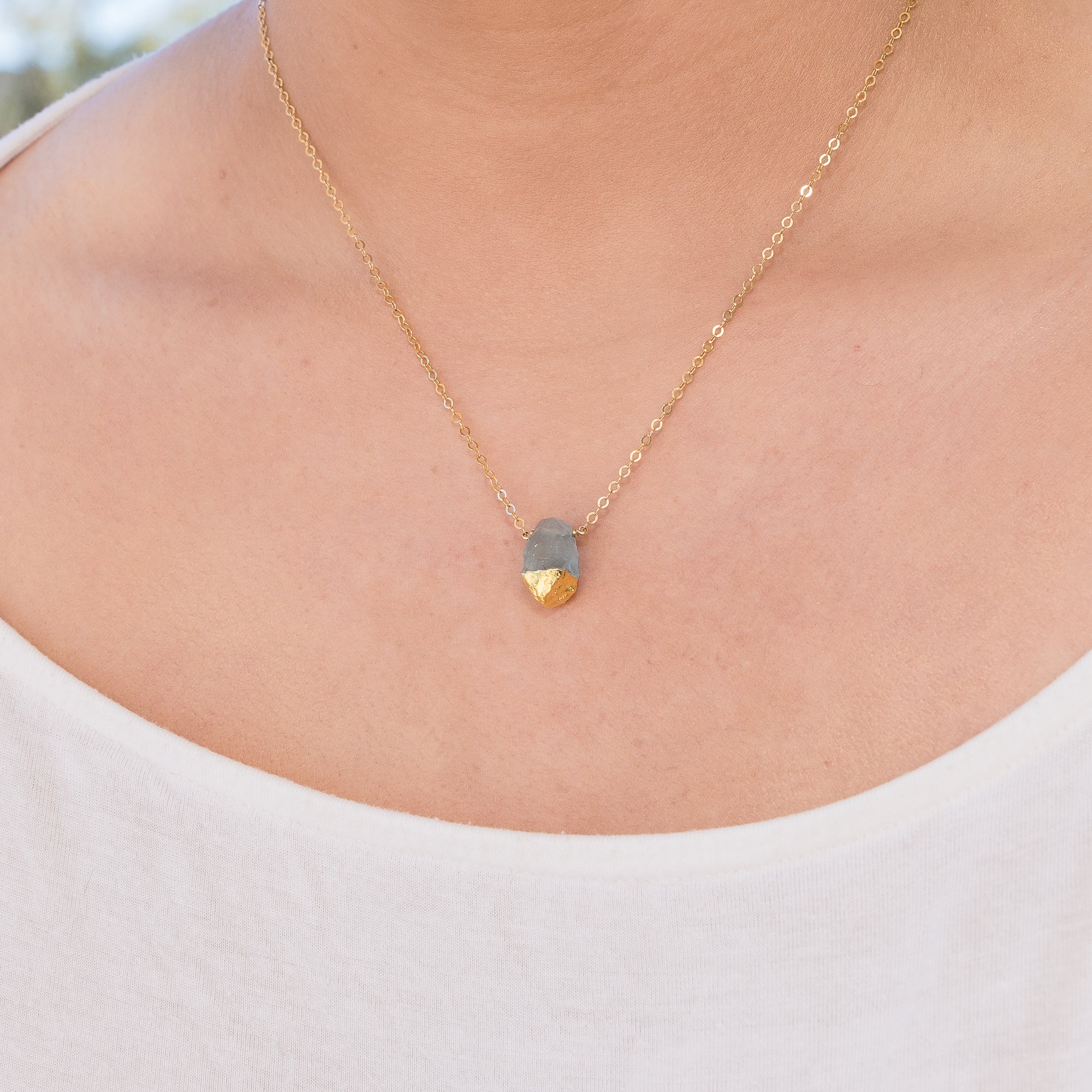 Gold Dipped Raw Aquamarine Necklace