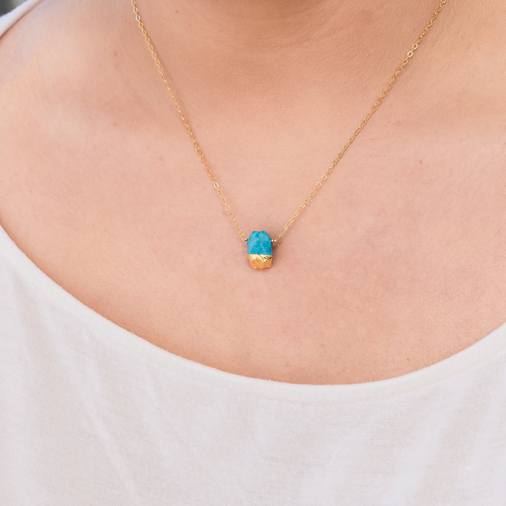 Gold Dipped Raw Blue Turquoise Gemstone Necklace
