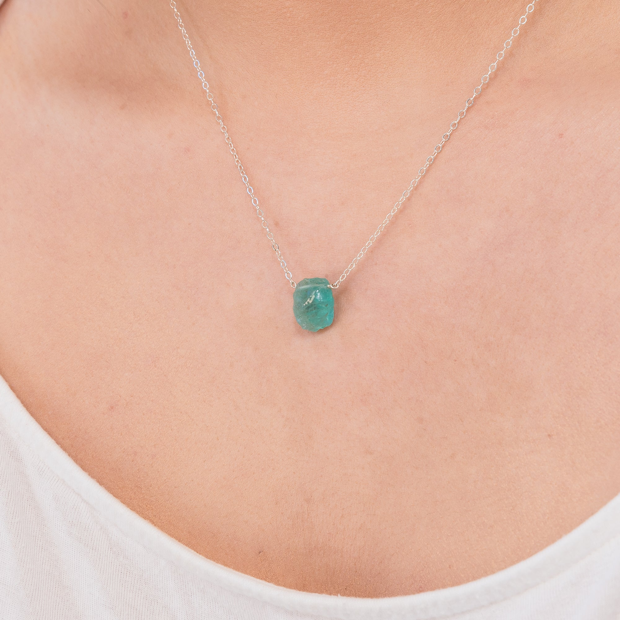 Raw Blue Apatite gemstone necklace