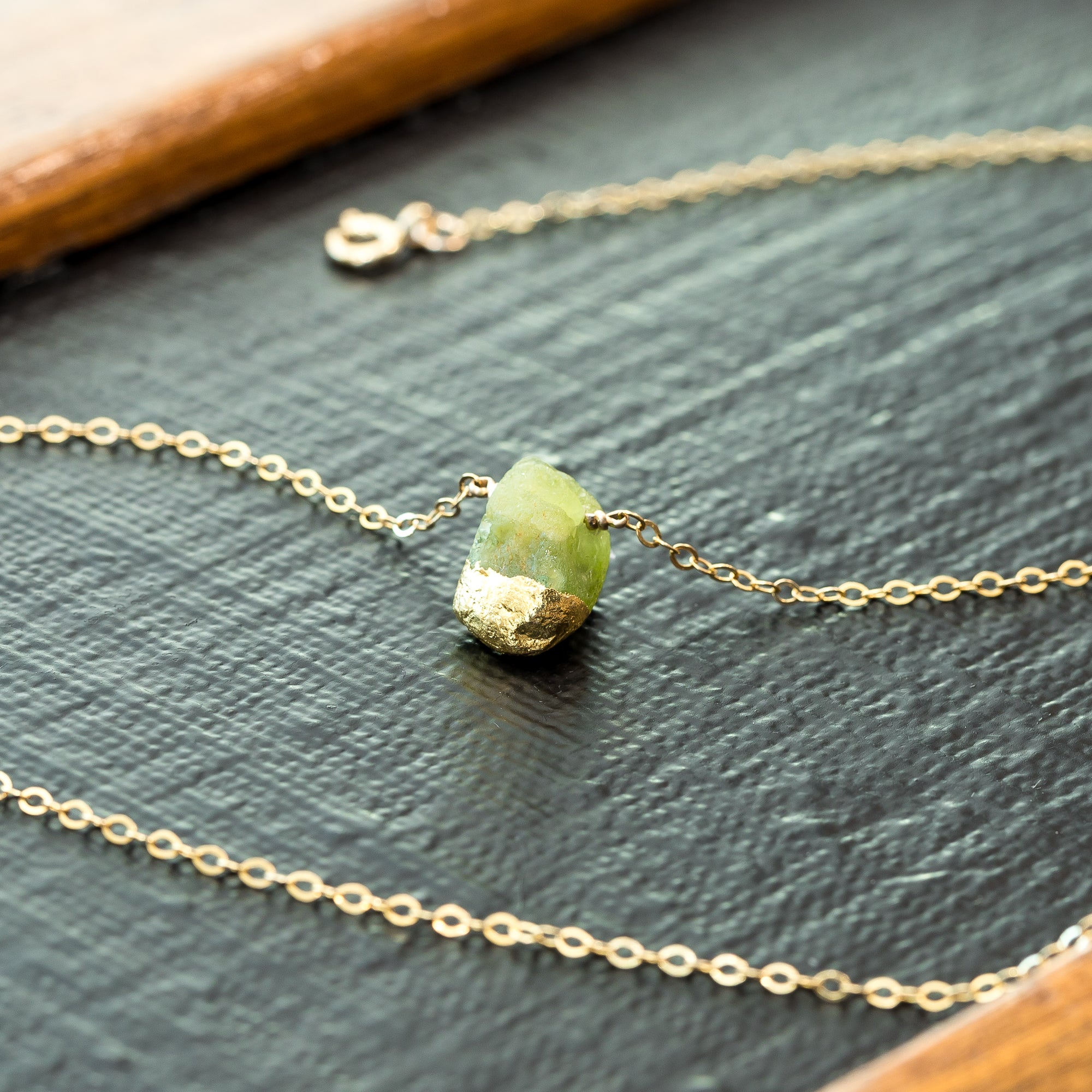 Gold Dipped Raw Peridot Necklace