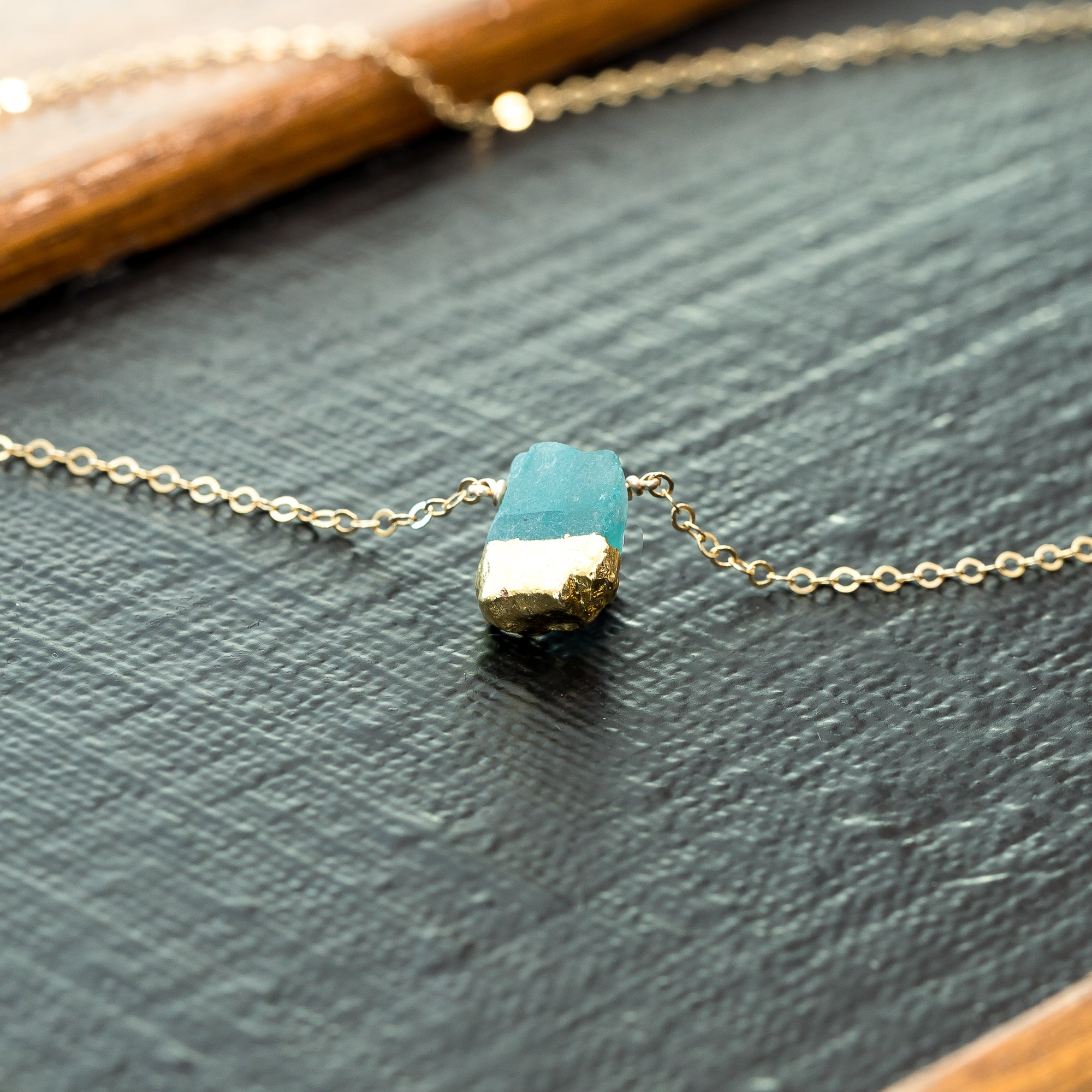 Gold Dipped Raw Apatite Gemstone Necklace