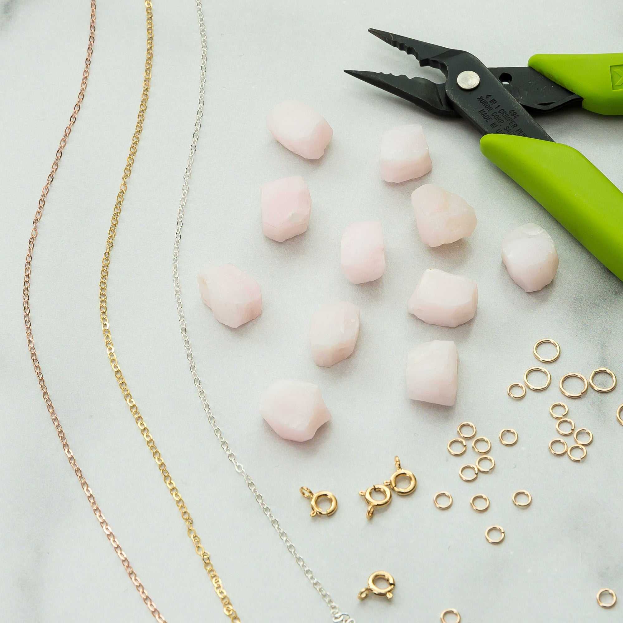 Gold Dipped Raw Pink Opal Necklace