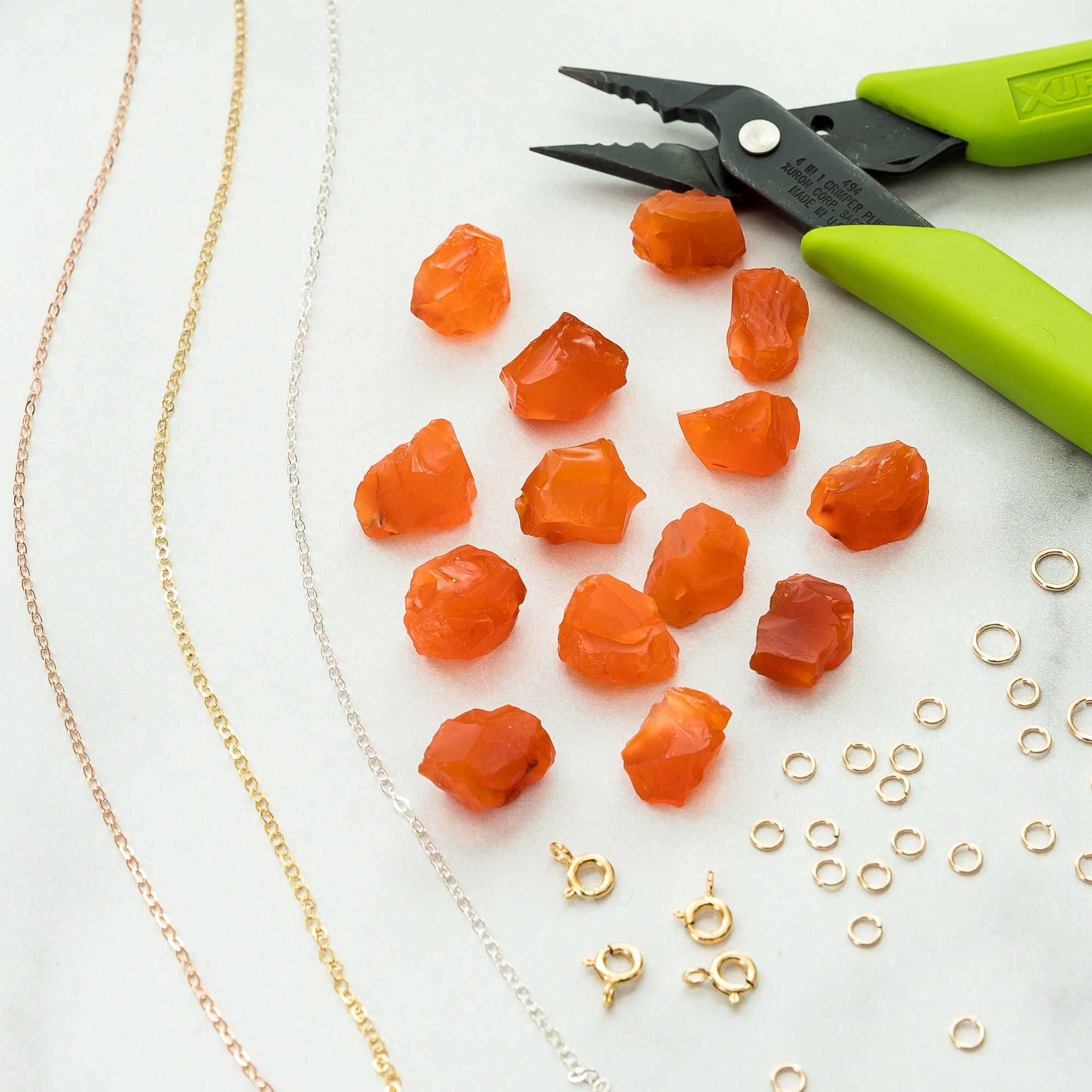 Gold Dipped Raw Carnelian Gemstone Necklace