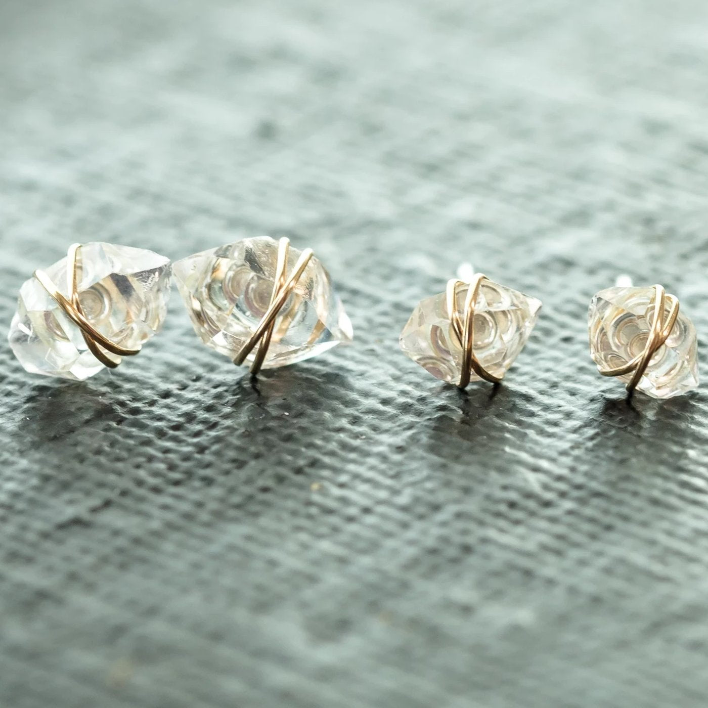 Gold WireGold Wire Wire Wrapped Herkimer Diamond Earrings | Liz.Beth Jewelry Co.Wire Wrapped Herkimer Diamond Earrings