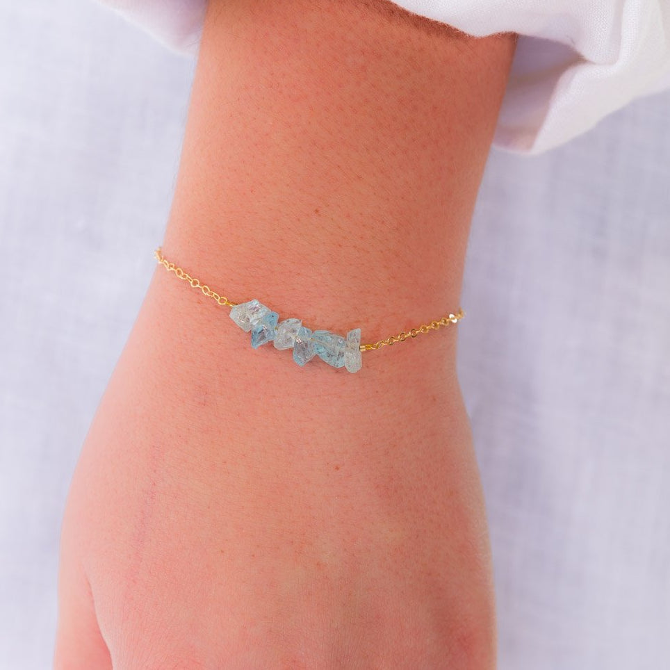 Raw Blue Aquamarine Gemstone Bar Bracelet