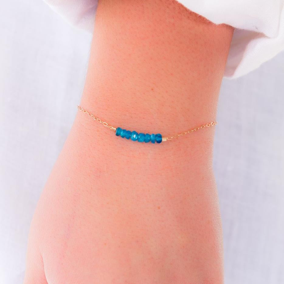 Apatite Bracelet,Apatite Jewelry, Something Blue, Raw Crystal Jewelry,Healing Bracelet, Jewelry Gift Ideas, Christmas, Dainty Bracelets, Bohemian, Gemstone Bracelet, Liz.Beth Jewelry Co.