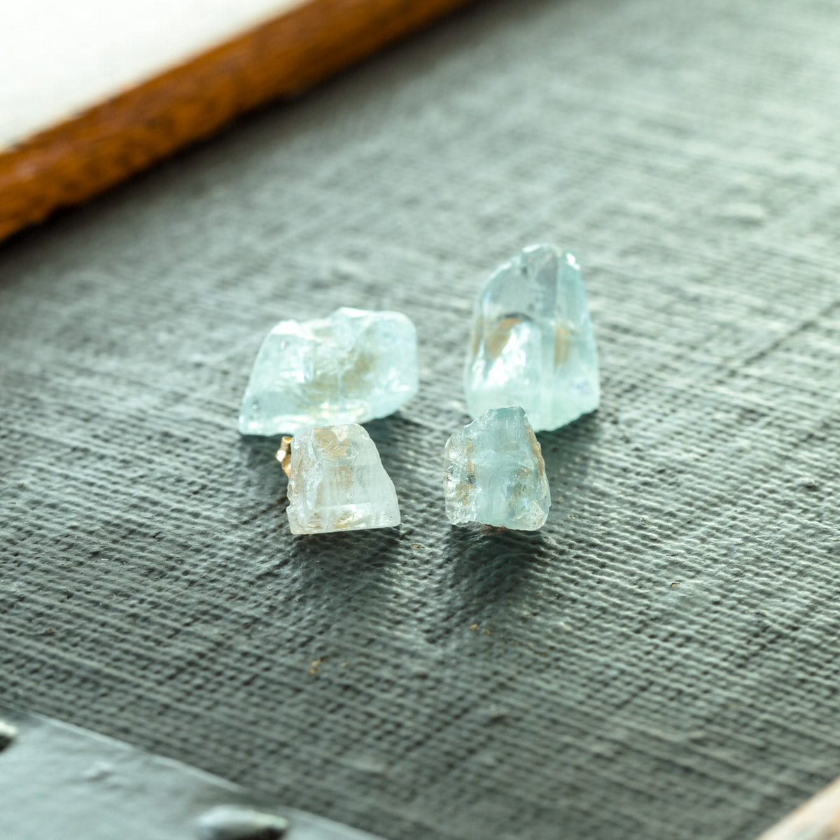 Delicate Raw Aquamarine Stud Earrings