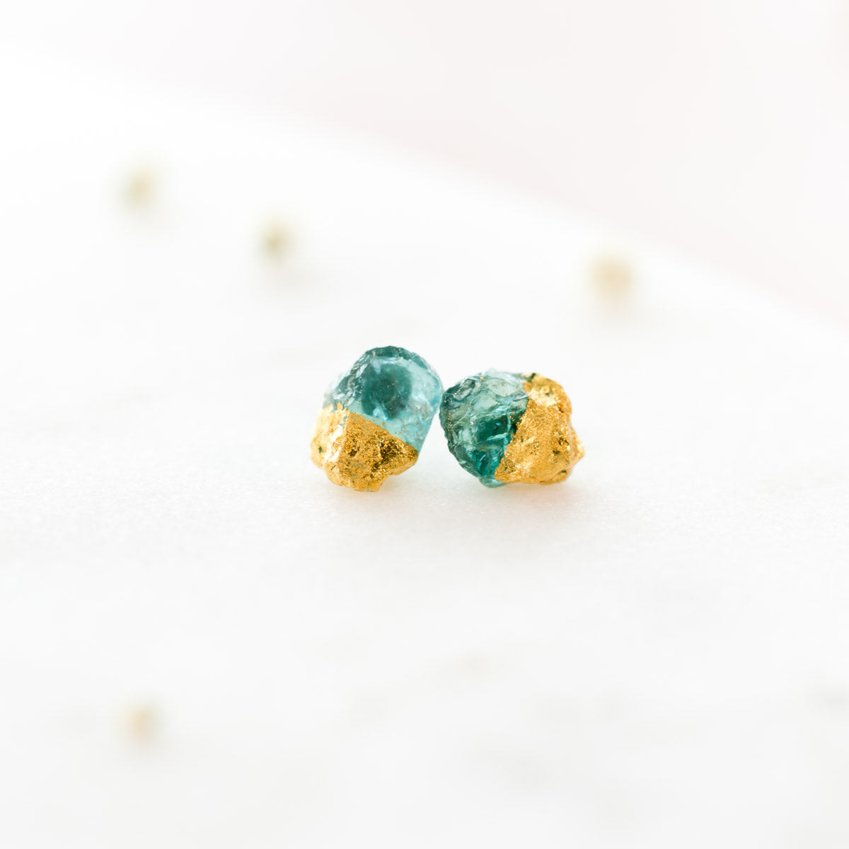 Apatite Earrings, Raw Apatite Earrings, Gold Dipped Apatite Earrings, Gold crystal Earrings, Natural gemstone Earrings, apatite Stud Earrings, Gemstone Earrings, Liz.Beth Jewelry Co.
