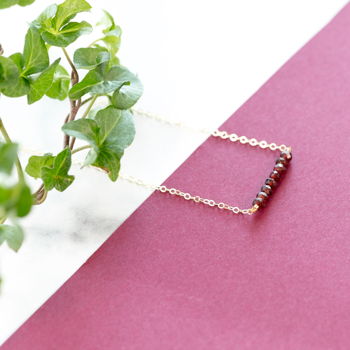 Delicate Red Garnet Crystals Bar Anklet
