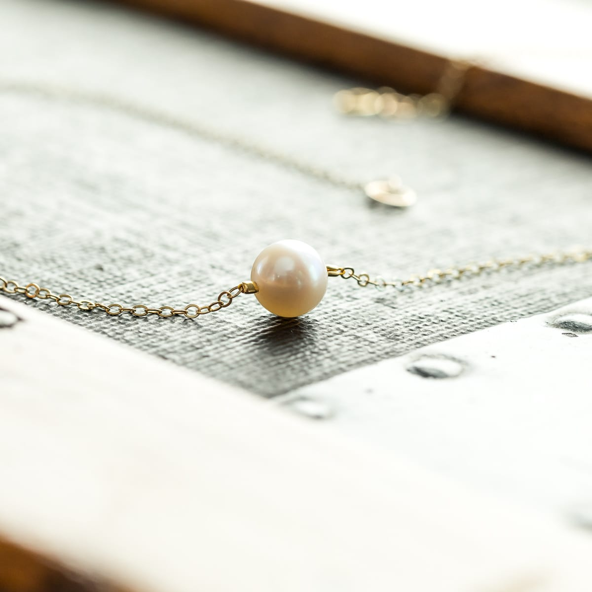 Floating Freshwater Pearl Bracelet - Gold Or Silver Chain