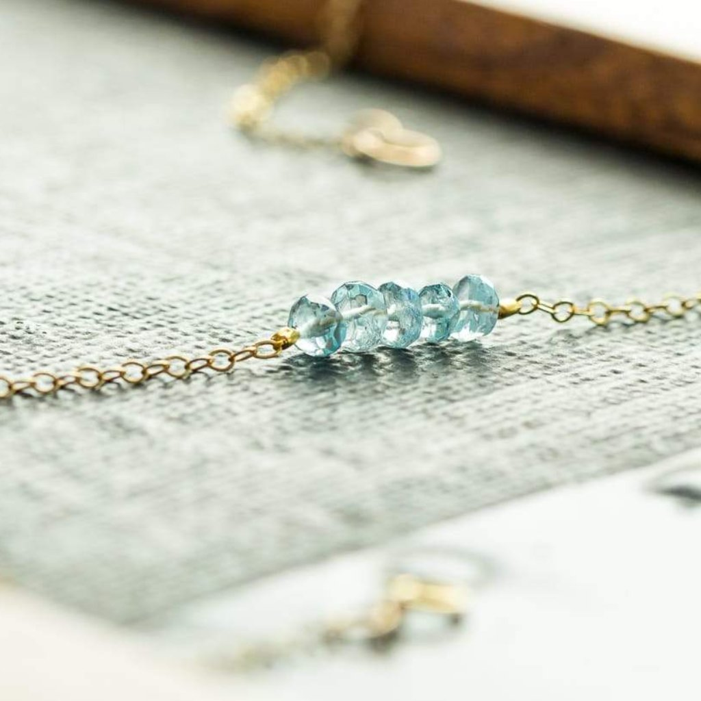 Blue Aquamarine And Freshwater Pearl Layered Necklace