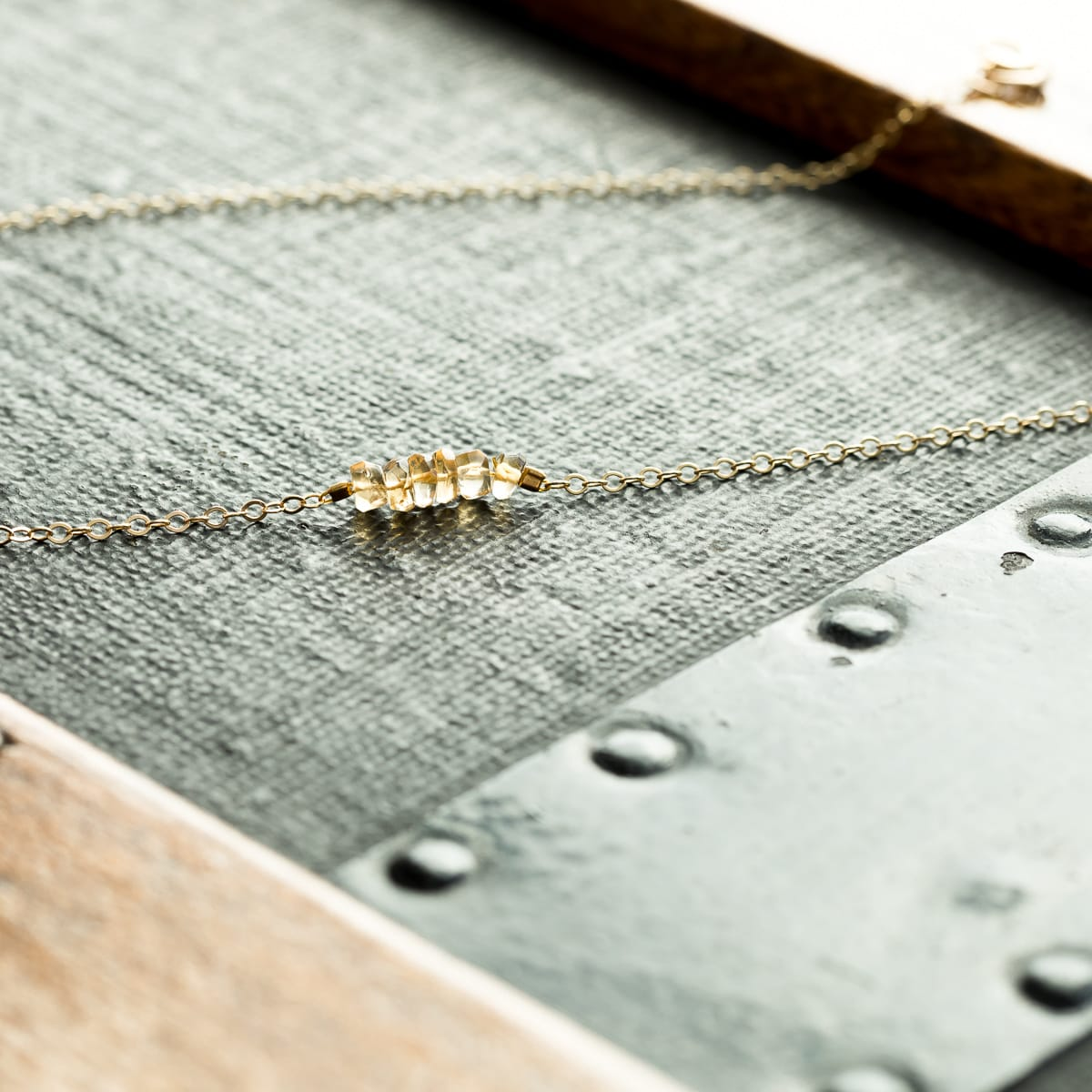 Yellow Citrine Horizontal Bar Necklace