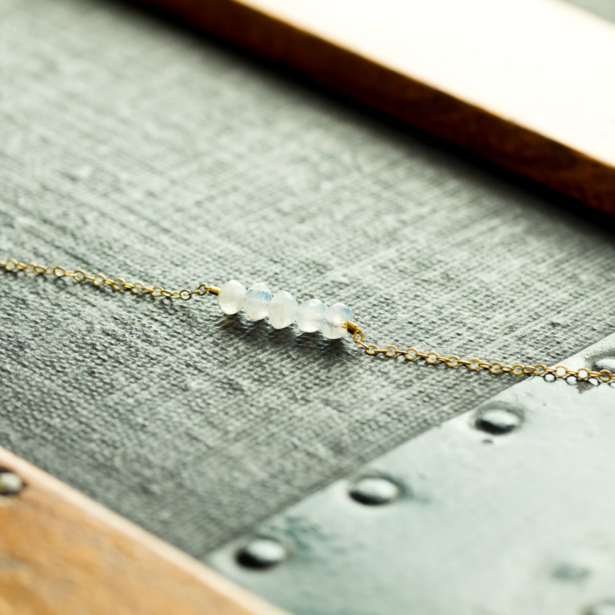 Moonstone Necklace, Rainbow Moonstone, Moonstone Row Necklace, Dainty Necklace, Minimal Necklace, Moonstone Bar Necklace, Gemstone Necklace, Liz.Beth Jewelry Co.
