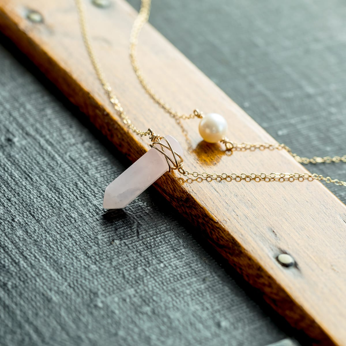 Rose Quartz Necklace, Pearl Necklace, Layered Necklace, Layering Necklace, Dainty Necklace, Minimal Necklace, Bohemian, Gemstone Necklace, Liz.Beth Jewelry Co.