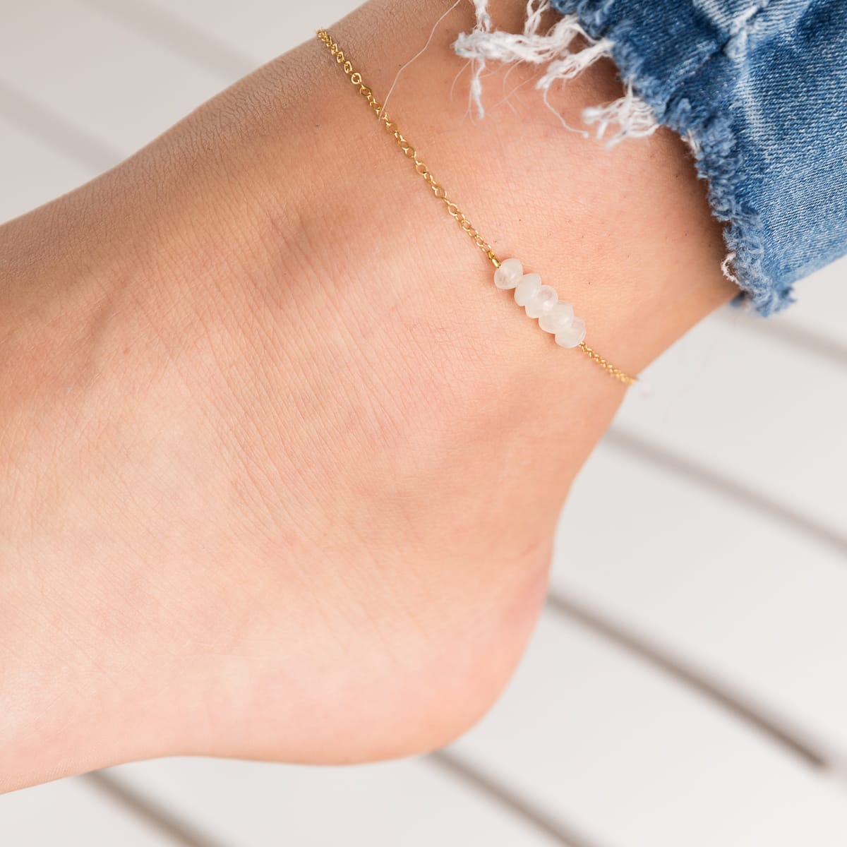 Horizontal Rainbow Moonstone Anklet