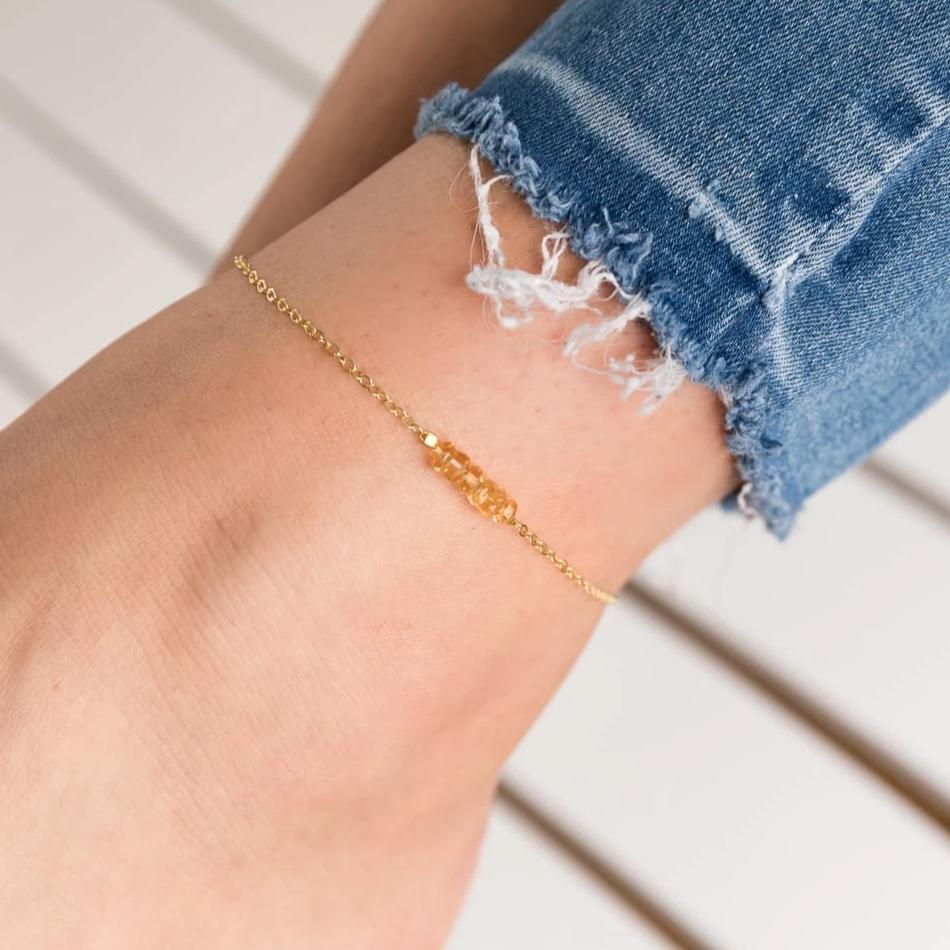 Dainty Yellow Citrine Anklet