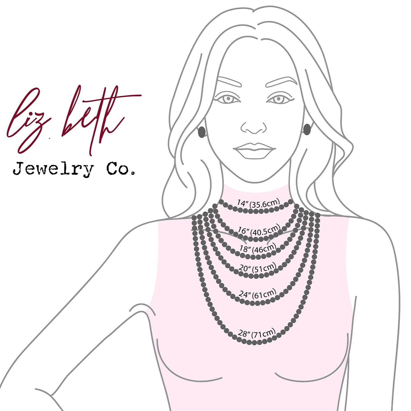 Necklace Measurement Chart, Necklace Length Sizing | Liz.Beth Jewelry Co.