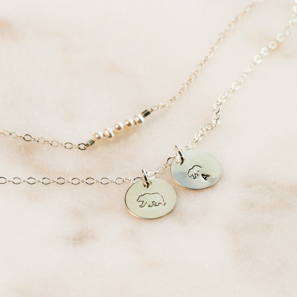 Hand-stamped Necklace, Mama Bear Necklace, Layered Pearl Necklace, Dainty Necklace, Minimal Necklace, Gift for Mom, Gemstone Necklace, Liz.Beth Jewelry Co.