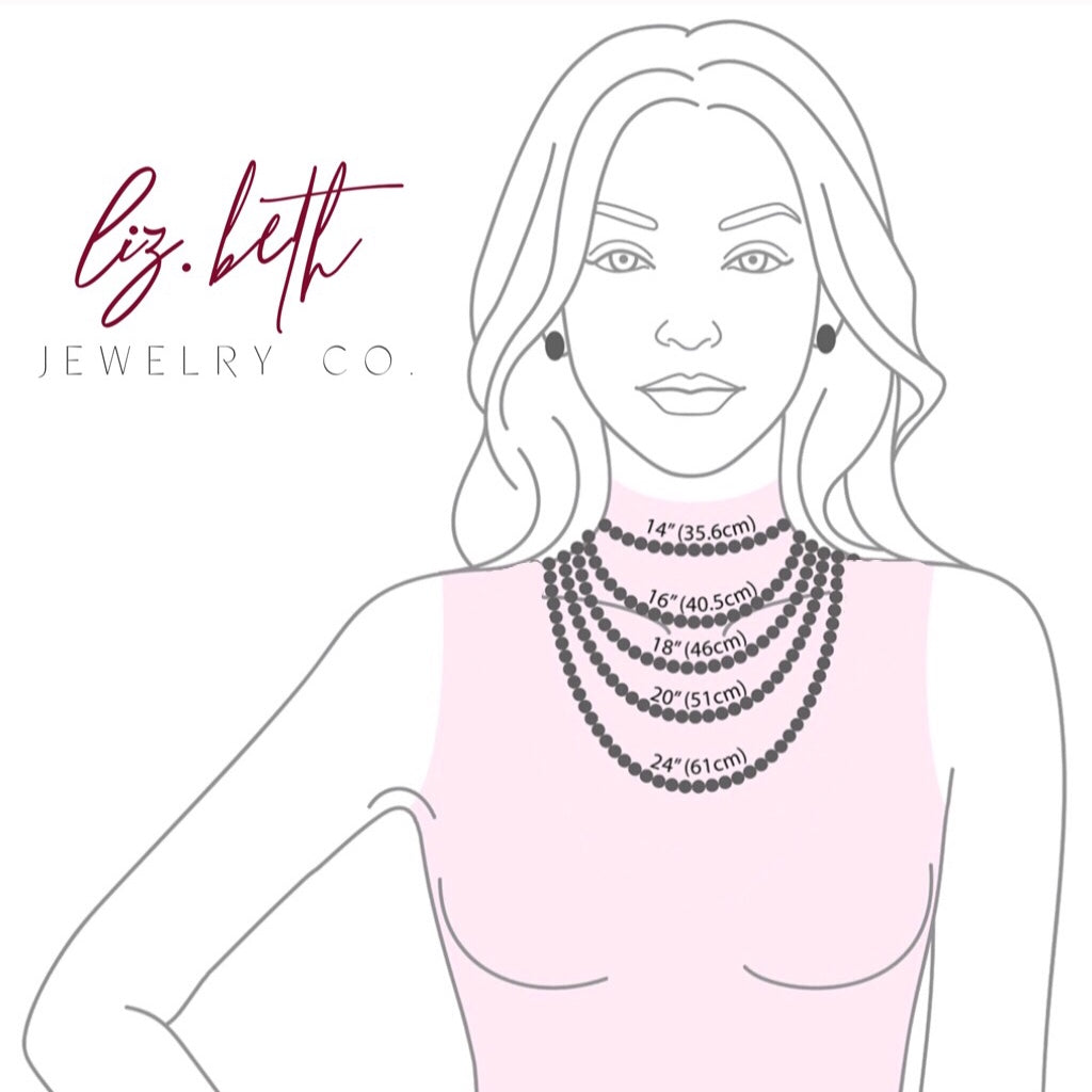 lizbeth jewelry necklace size chart