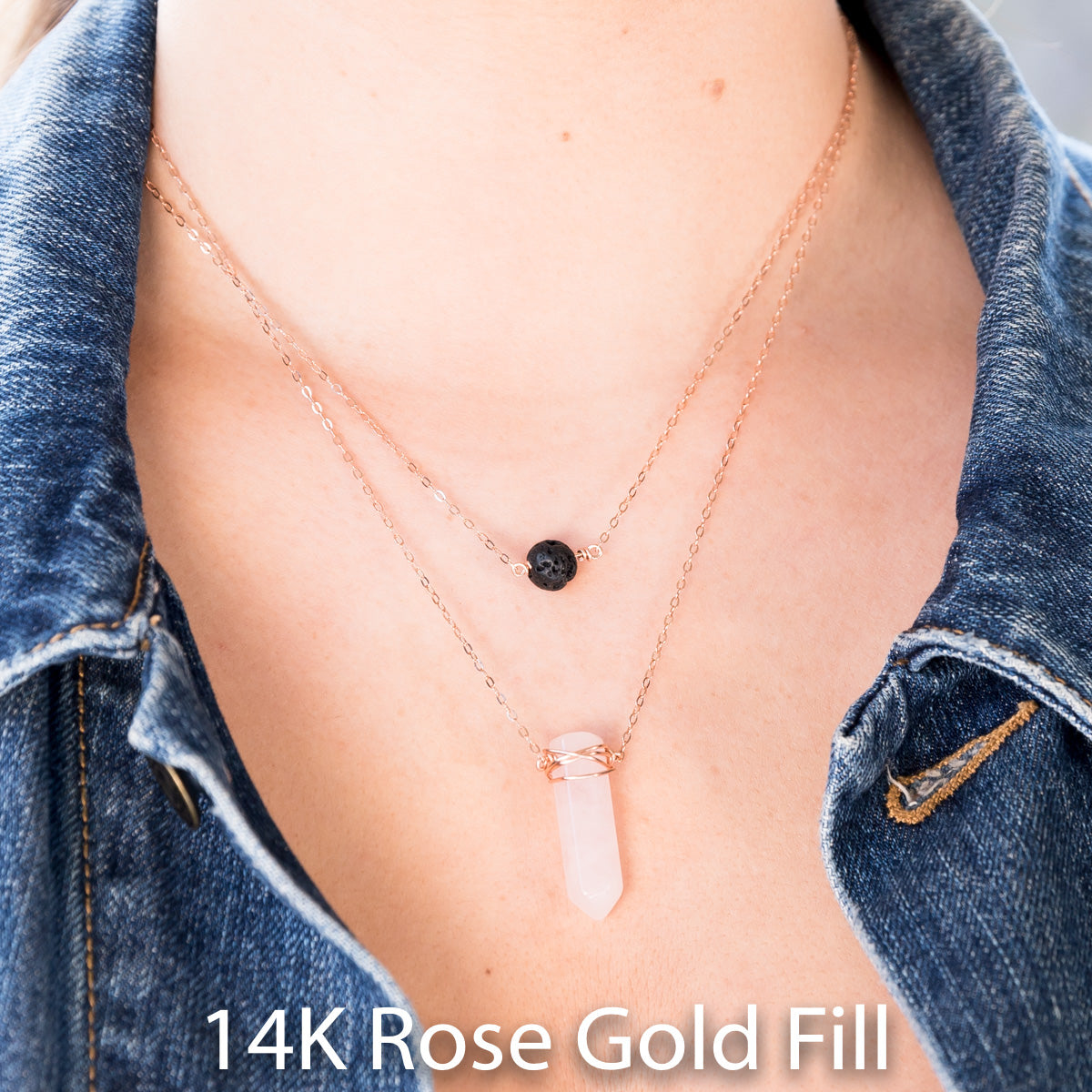 Essential Oil Jewelry, Essential Oil Necklace, Essential Oil Diffuser, Lava Stone, Rose Quartz Crystal, Healing Crystal Jewelry, Rose Quartz Necklace, Wire wrapped Rose Quartz, Layered Necklace, Layering Necklace, Dainty Necklace, Minimal Necklace, Bohemian, Gemstone Necklace, Liz.Beth Jewelry Co.