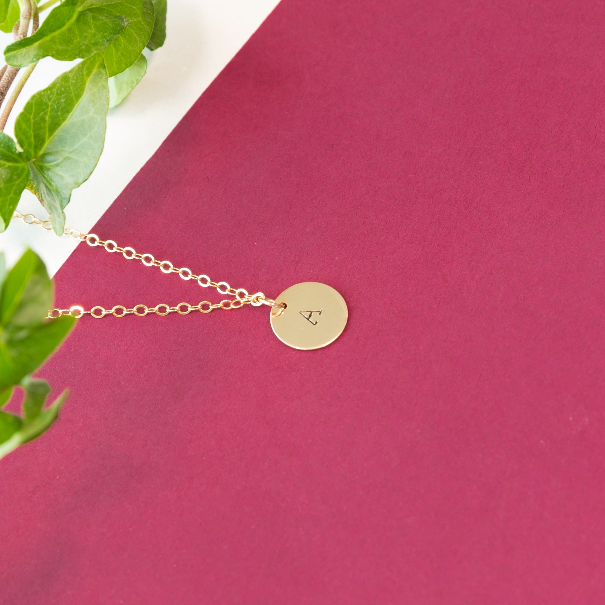 Delicate personalized initial charm disc necklace