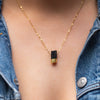 Gold Dipped Black Tourmaline Gemstone Necklace