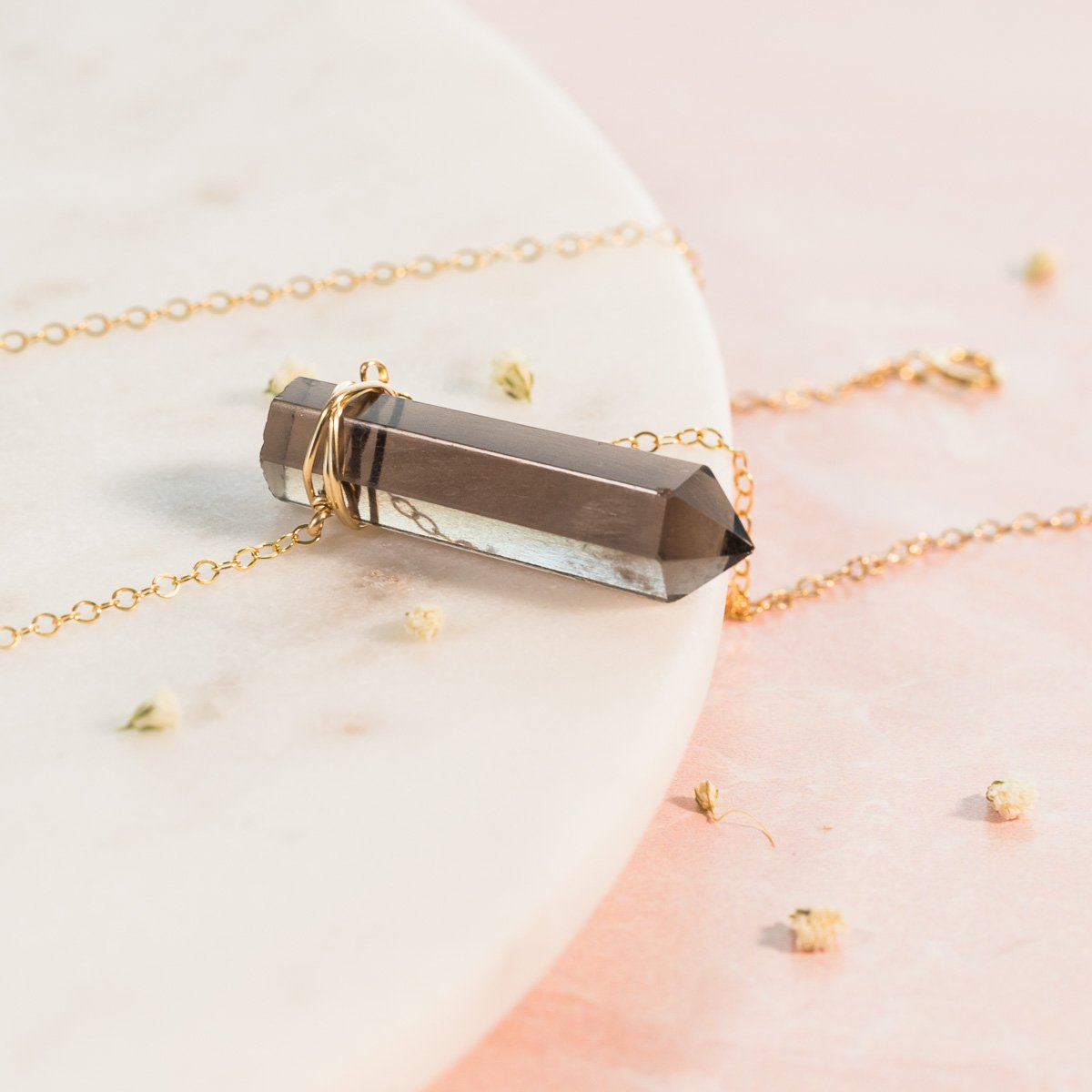 Smoky Quartz Wire Wrapped Point Necklace | Liz.Beth Jewelry Co.