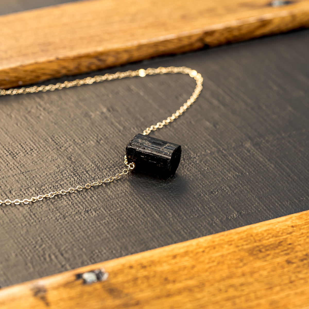 Raw Black Tourmaline Crystal Necklace