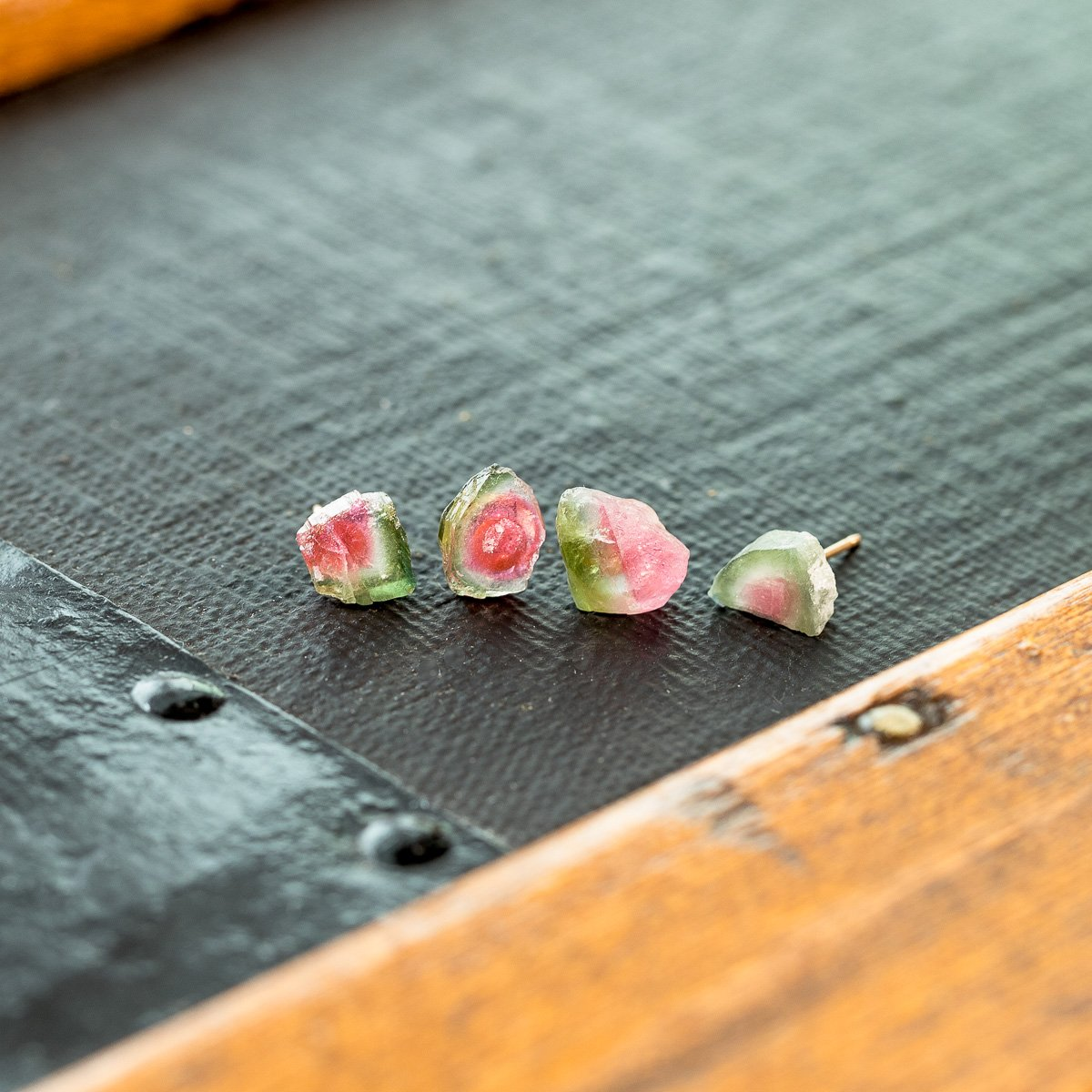 Watermelon Tourmaline Slice Earrings | Liz.Beth Jewelry Co.