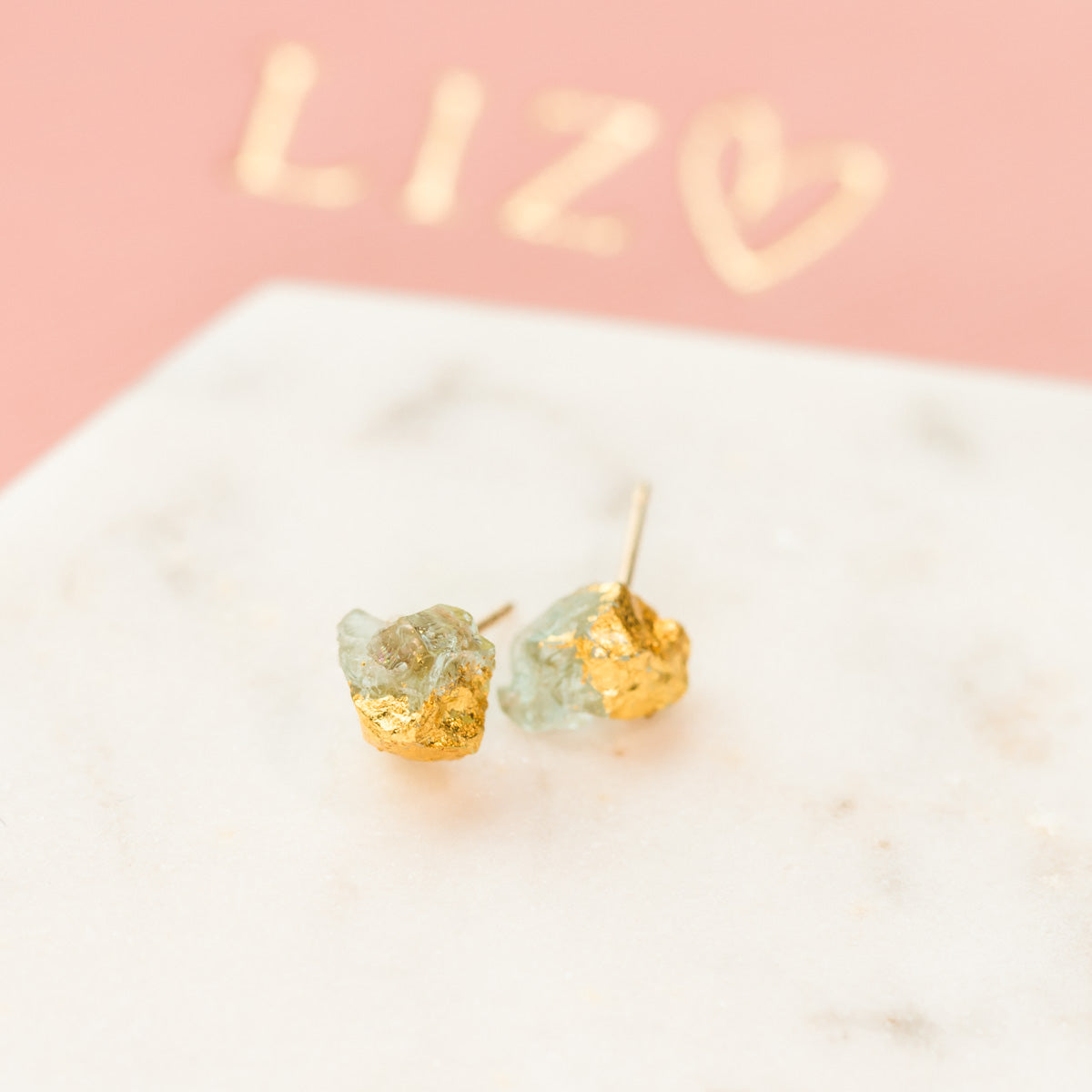 Aquamarine Earrings, Raw Aquamarine Earrings, Gold Dipped Aquamarine Earrings, Gold Aquamarine Earrings, Natural Aquamarine Earrings, Aquamarine Stud Earrings, Gemstone Earrings, Liz.Beth Jewelry Co.