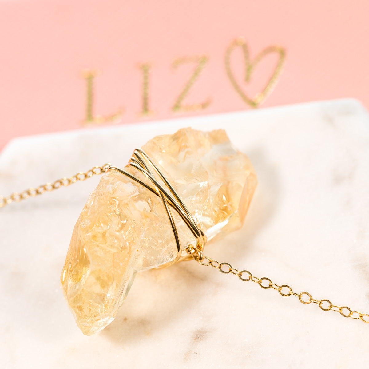 Citrine Necklace, The Queen Bee Necklace, Raw Citrine Crystal Necklace, Citrine Chunk Necklace, Wire-wrapped, Gemstone Necklace, Liz.Beth Jewelry Co.