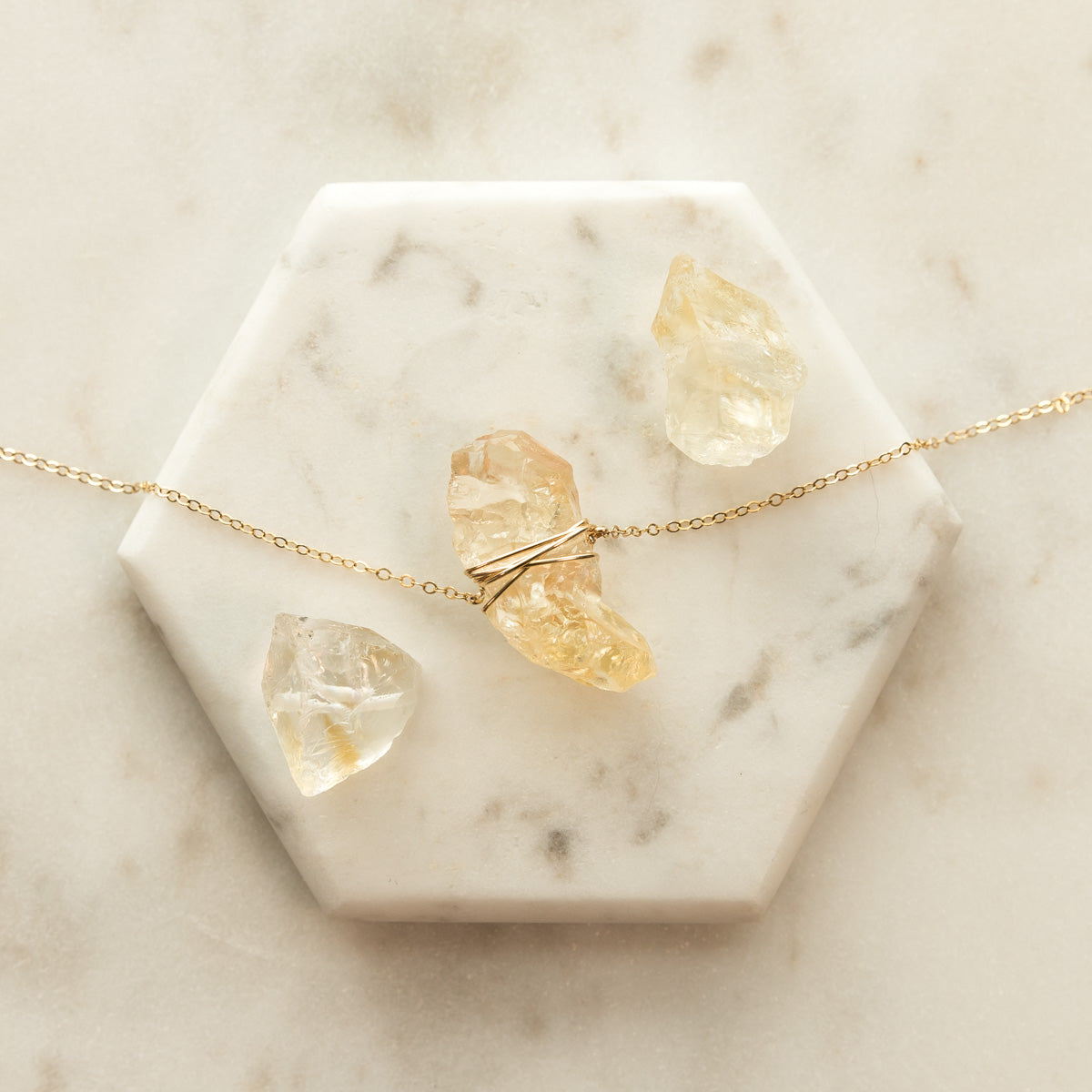 AAA Grade Raw Citrine Gemstone Gold Wire Wrap Necklace - The Queen Bee
