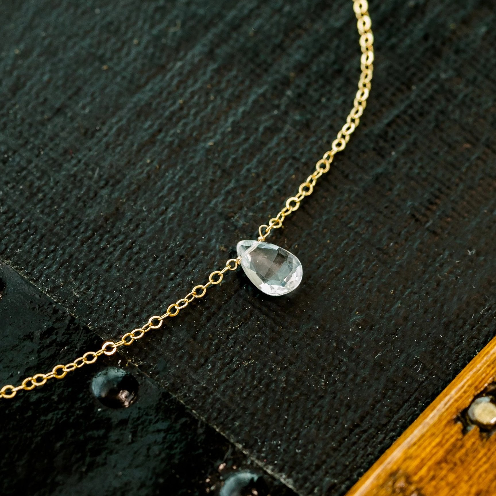 Clear Quartz Teardrop Necklace - April Birthstone Jewelry