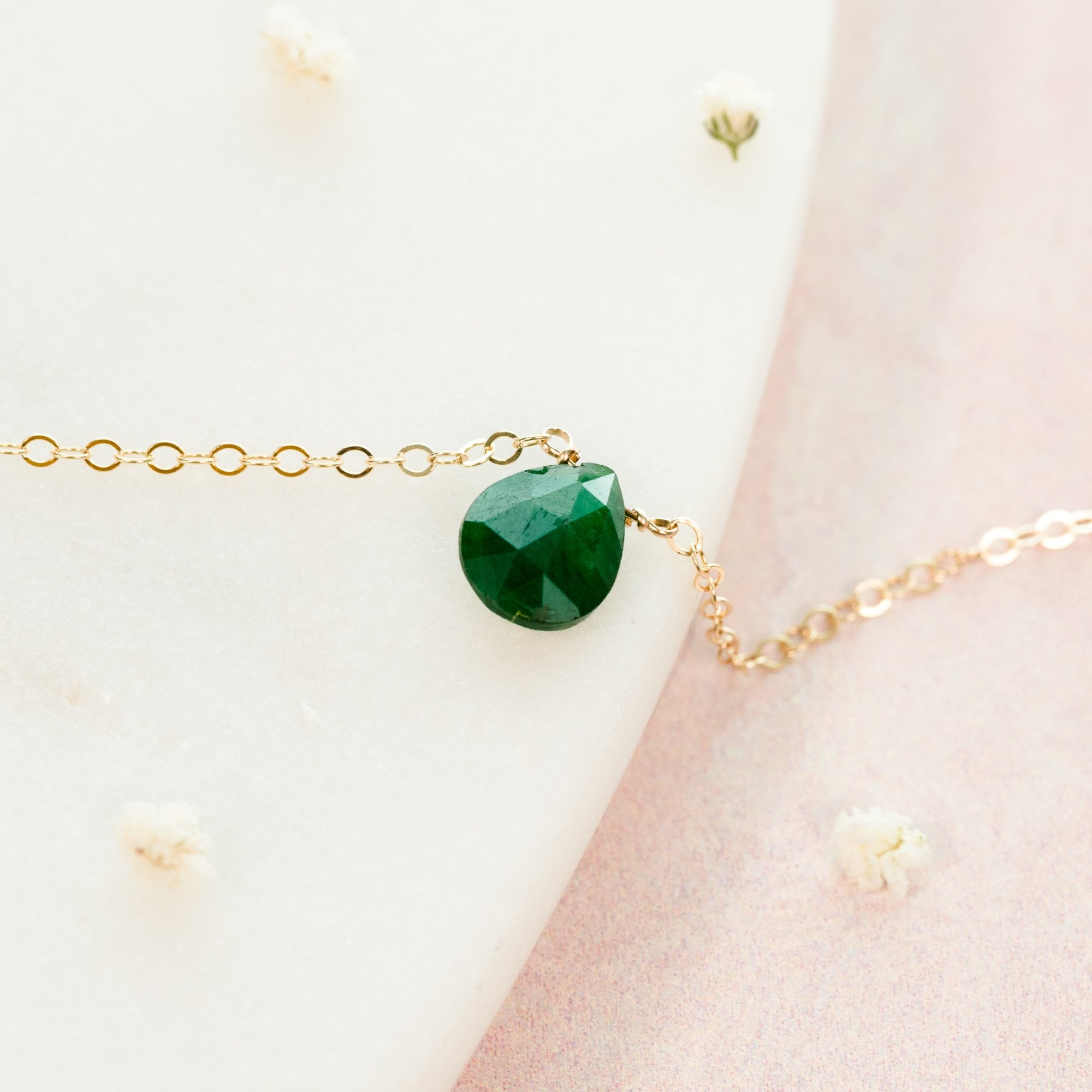 May Emerald Birthstone Necklace Liz.Beth Jewelry Co.