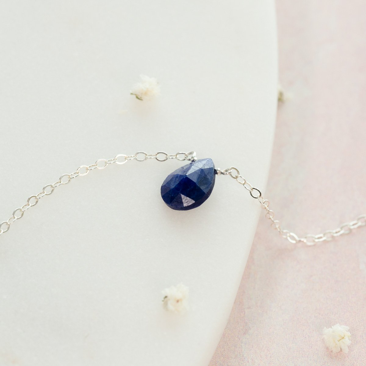 Natural Blue Sapphire Teardrop Necklace - September Birthstone Jewelry