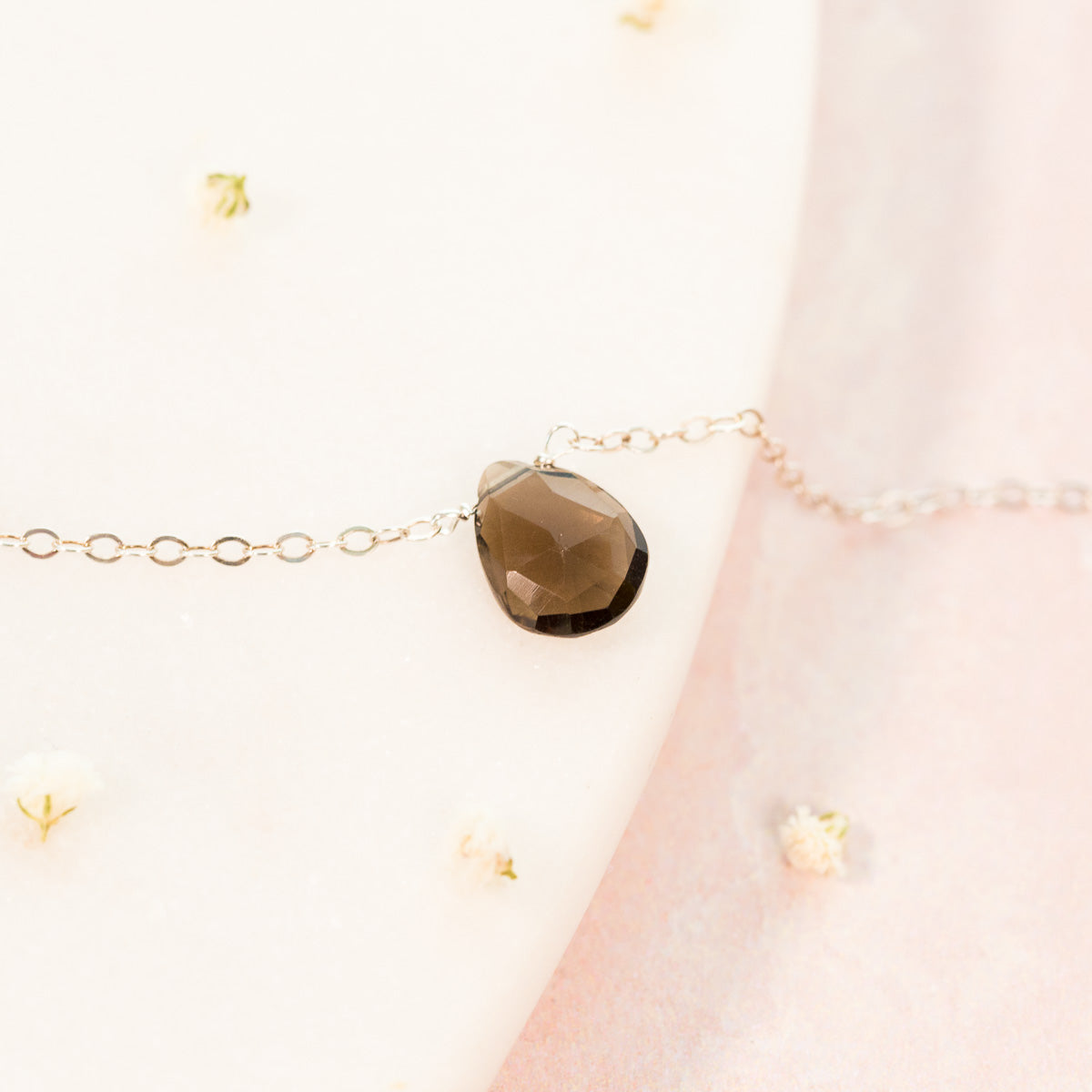 Smoky Quartz Necklace Teardrop Necklace Collection Liz.Beth Jewelry Co.