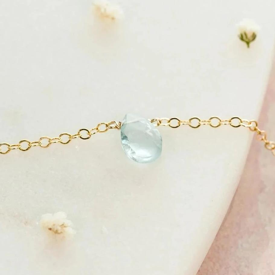 March Birthstone Aquamarine Teardrop Necklace