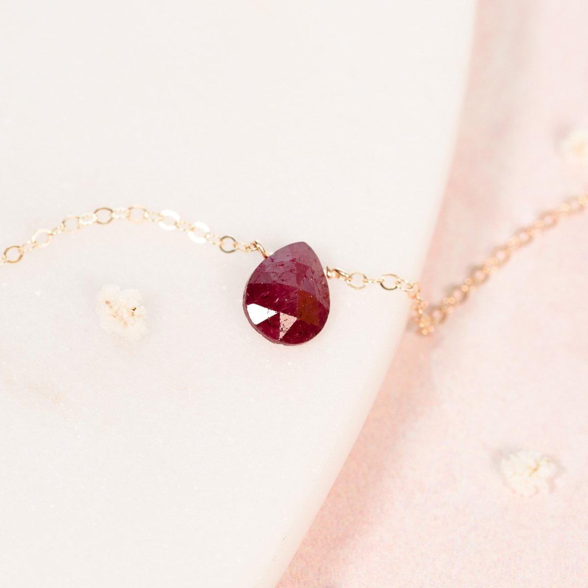 Natural Red Ruby Teardrop Necklace - July Birthstone Jewelry