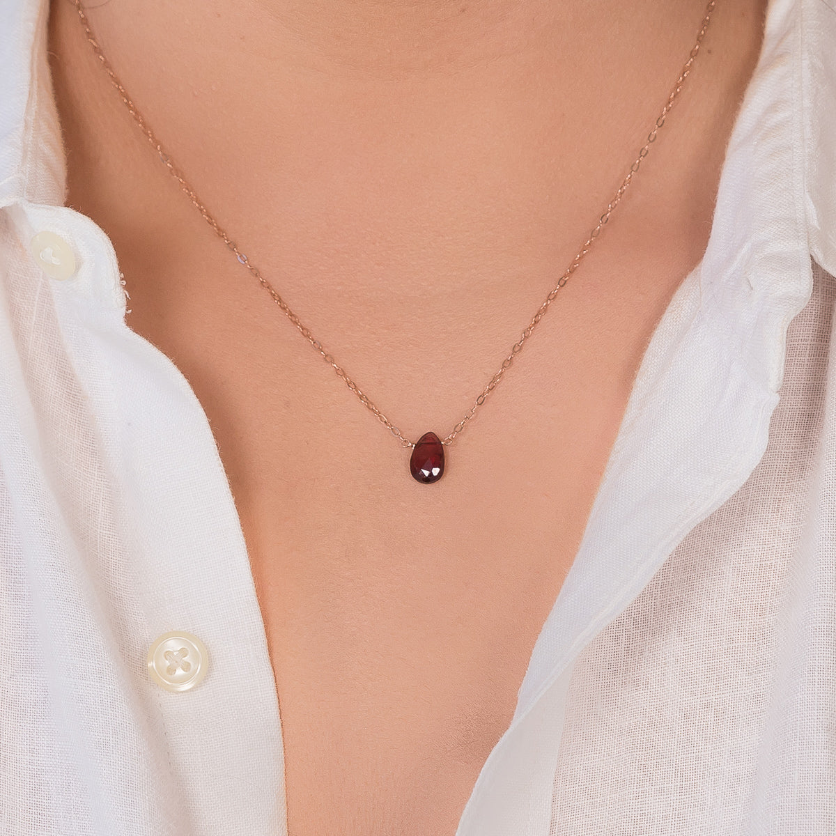 January Garnet Birthstone Necklace Liz.Beth Jewelry Co.