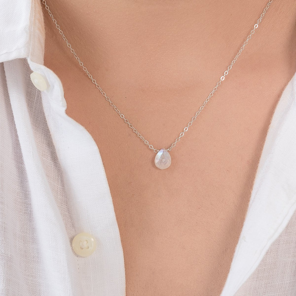 June Rainbow Moonstone Teardrop Necklace Liz.Beth Jewelry Co.