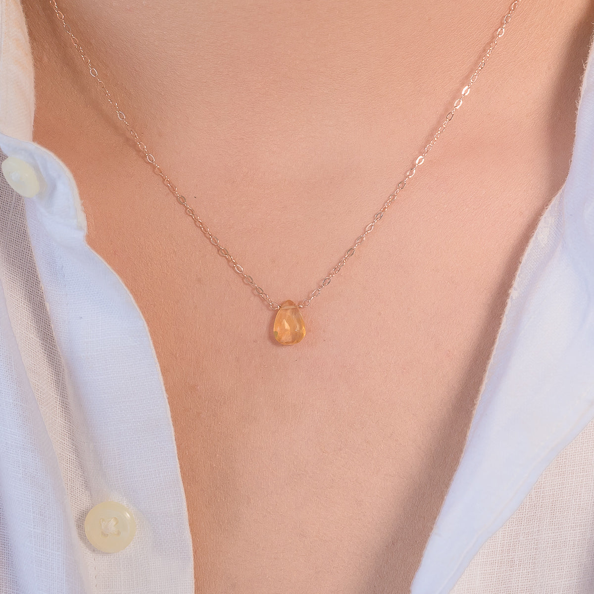 Citrine November Birthstone Teardrop Necklace